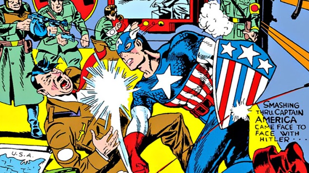 Captain America punching Hitler in the face.