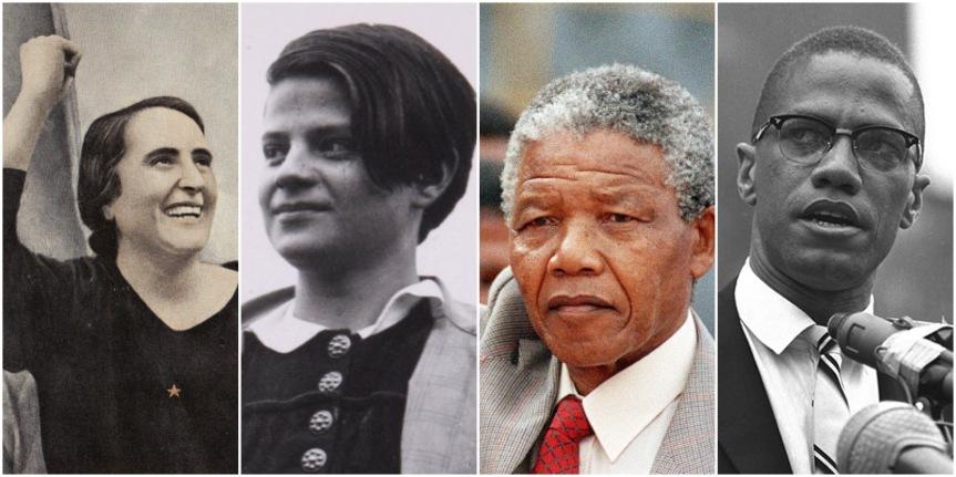 Eine Galerie linker Chaoten: Dolores Ibárruri, Sophie Scholl, Nelson Mandela und Malcolm X.