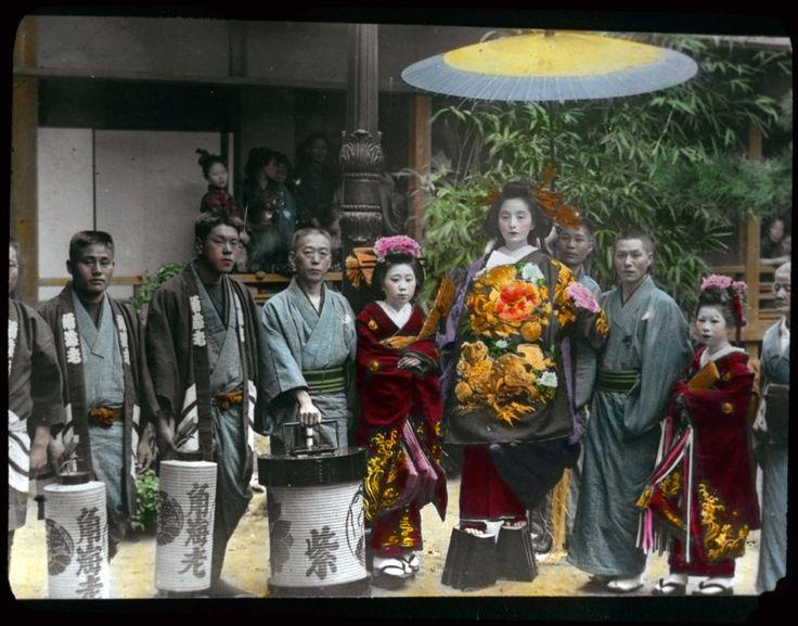 Foto einer Geisha mit Kunden
