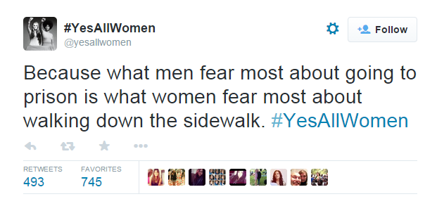 Because what men fear the most about going to prison is what women fear most about walking down the sidewalk. #yesallwomen