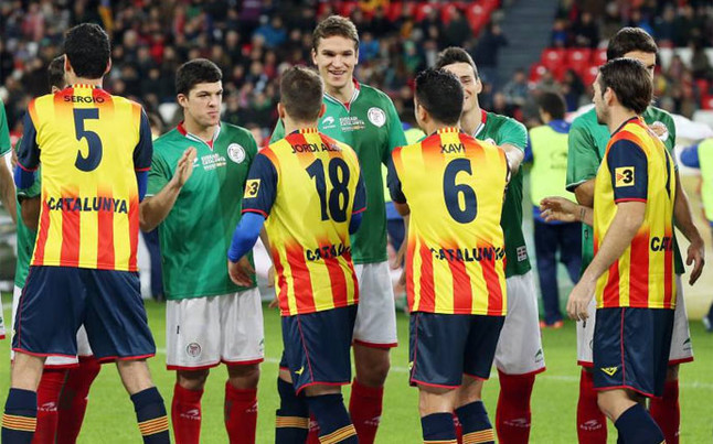 scene from the football match between Catalunya and Euskadi