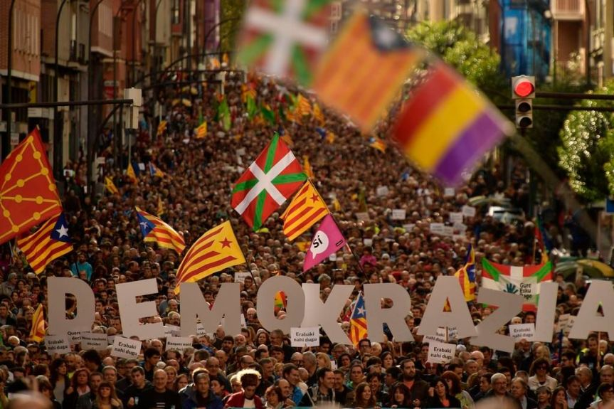 a demonstration in the Basque Country in solidarity with Catalonia