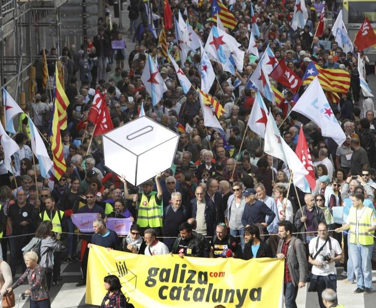 Demonstration in Galicia in solidarity with Catalonian independence.