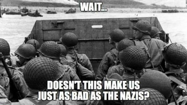 Allied soldiers in World War II, considering whether fighting the Nazis with violence is as bad as being a Nazi.