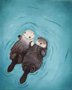 a painting of otters holding hands while drifting