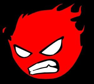 a red ball of flame with an angry face