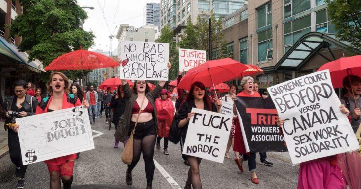 Sexarbeiterinnen bei einem Protestmarsch