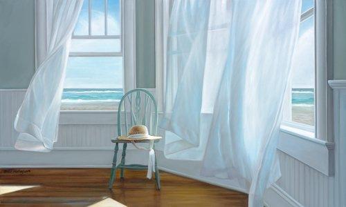 Gemälde mit wehenden Vorhängen und Blick aufs Meer.