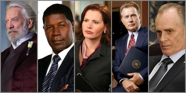A collage of five fictional presidents: Snow, Palmer, Allen, Bartlet, and Dalton.