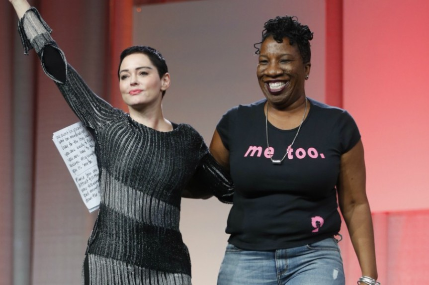 A picture of Rose McGowan and Tarana Burke, initiators of the #metoo movement.