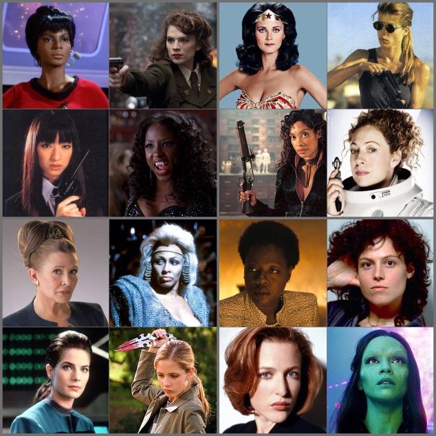 Nyota Uhura, Agent Carter, Wonder Woman, Sarah Connor, Gogo, Tara Thornton, Zoë Washburn, River Song, General Leia Organa, Auntie Entity, Amanda Waller, Ripley, Jadzia Dax, Buffy, Scully, Gamora