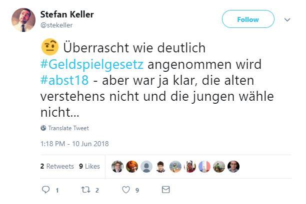 Tweet von Stefan Keller: Überrascht, wie deutlich das Geldspielgesetz angenommen wird. Aber war ja klar, die Alten verstehens nicht und die Jungen wählen nicht.