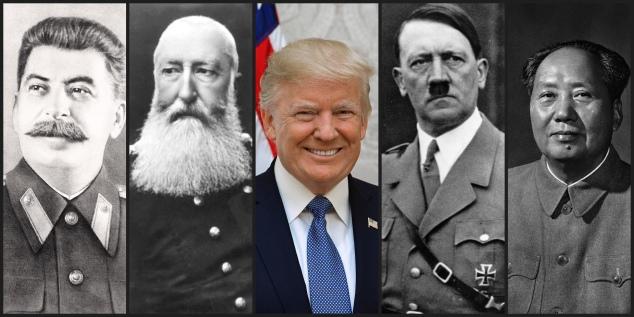 Portraits of Stalin, Leopold II, Trump Hitler, and Mao